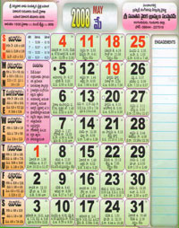 Click here to download Telugu Calendar for the month of May 2008